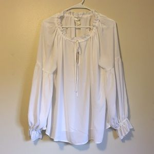 H&M Ruffle Lace up Collar Blouse